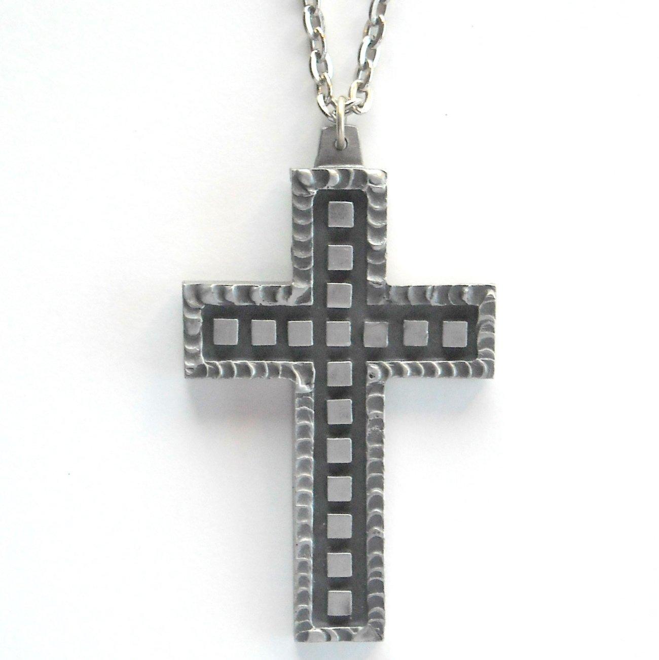 Jorgen Jensen Large Pewter Vintage Danish Cross Design Necklace