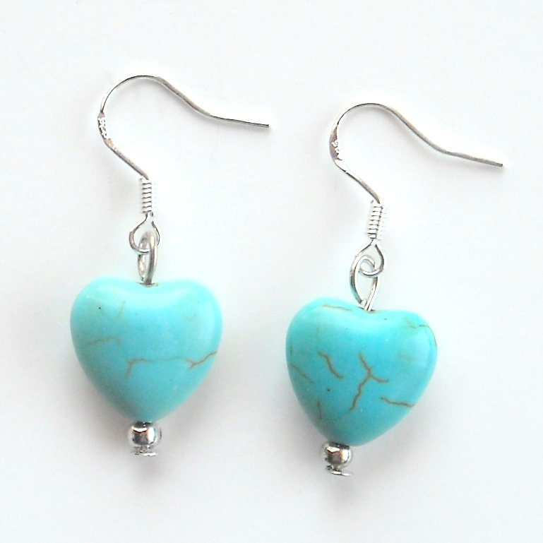 Turquoise Heart Shaped Dangle 925 Silver Fashion Earrings