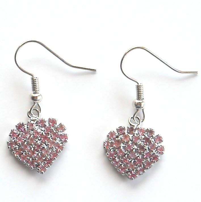 Rhinestone Austrian Crystals Pink Multi Stone Faceted Heart Dangle Fashion Earrings