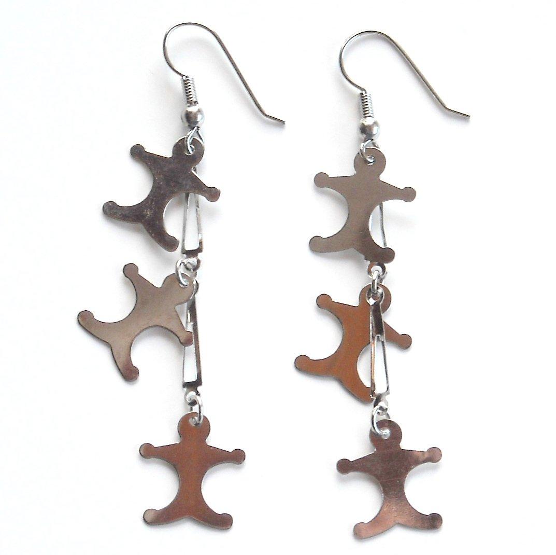 3 Babies Silver color Metal Dangle Fashion Earrings