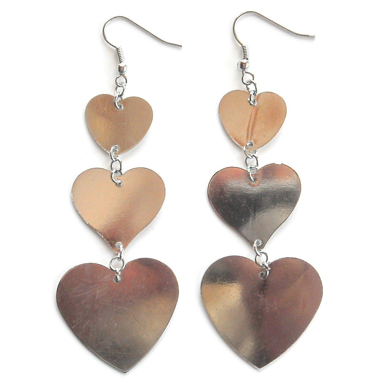 3 Hearts Silver color Metal Dangle Fashion Earrings
