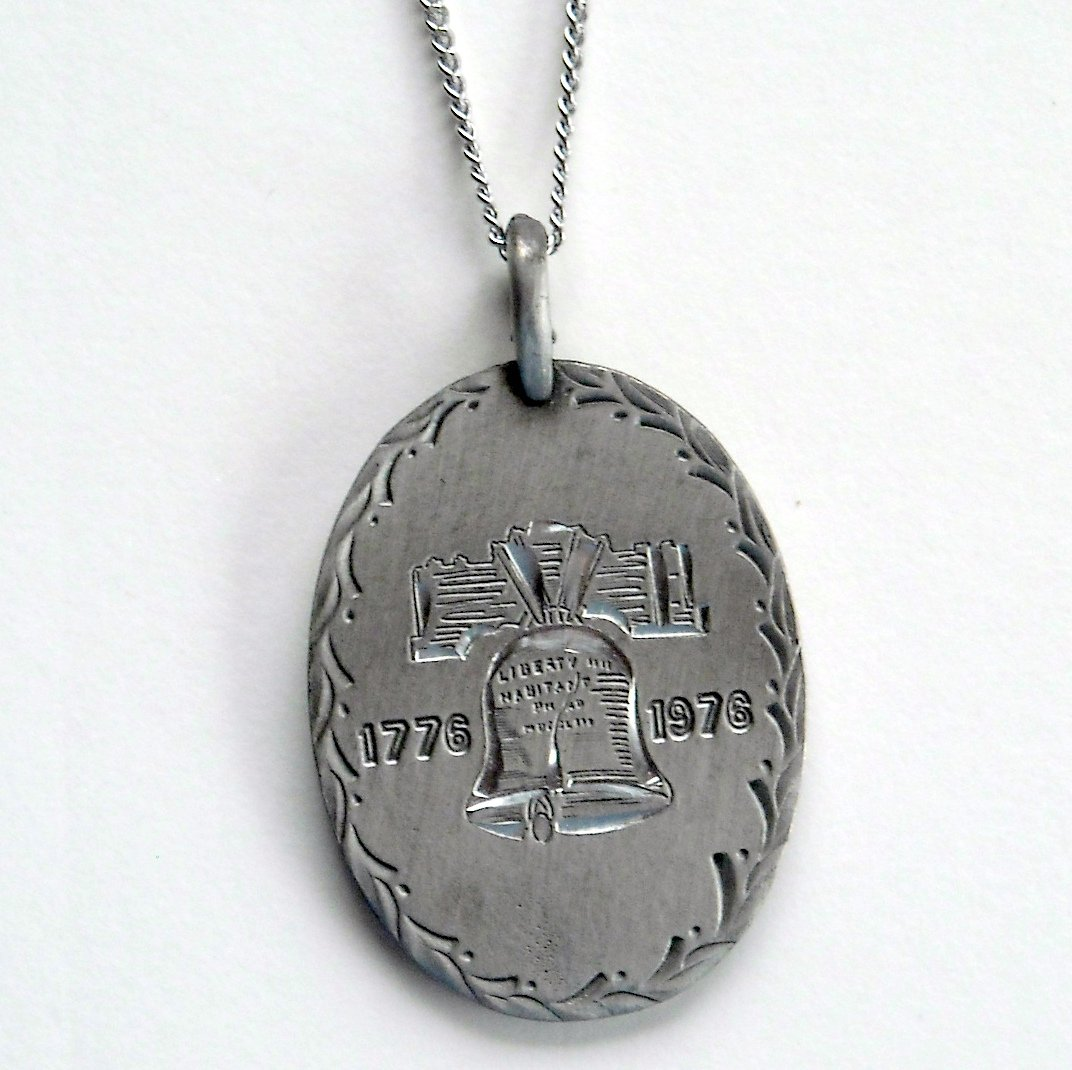 Vintage Liberty Bell Bicentennial Patriotic AJC Hand Engraved Pewter Necklace