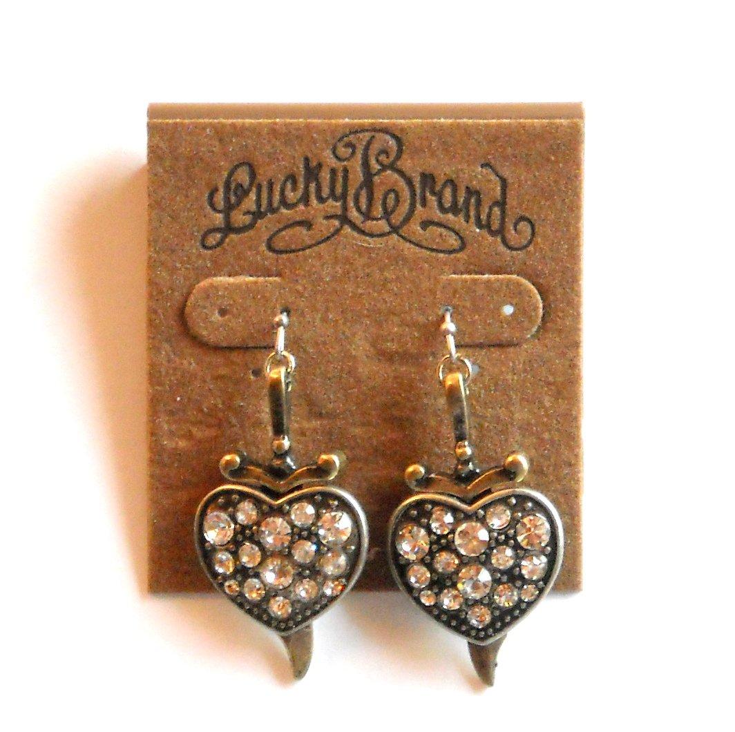 Lucky Brand Sword Shiny Heart Brass Drop Earrings