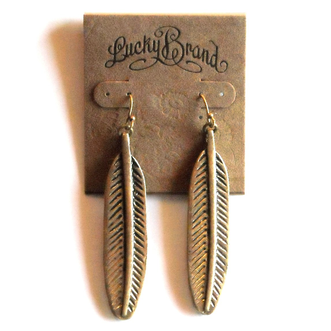 Lucky Brand Gold Color Feather Oblong Dangle Drop earrings