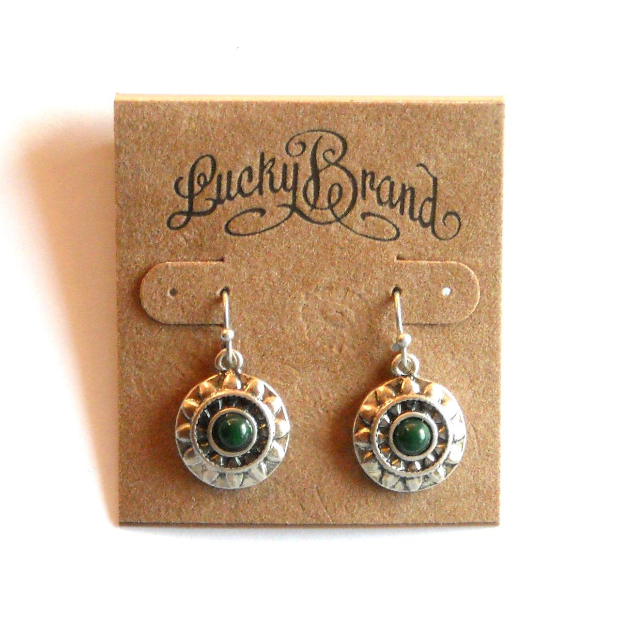 Lucky Brand Green Pearl Flower Silver Color Dangle Drop earrings