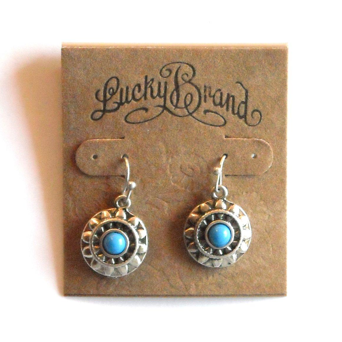 Blue Pearl Flower Lucky Brand Silver Color Dangle Drop earrings