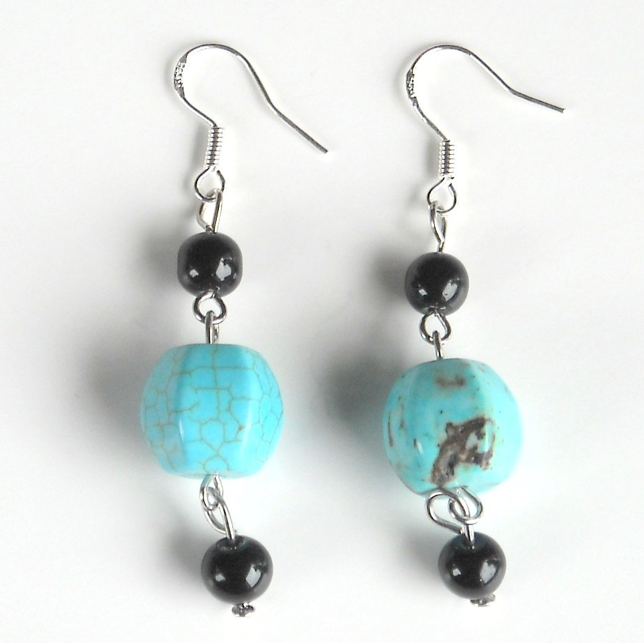 Turquoise Drops with Black Beads Dangle 925 Silver Fashion Earrings