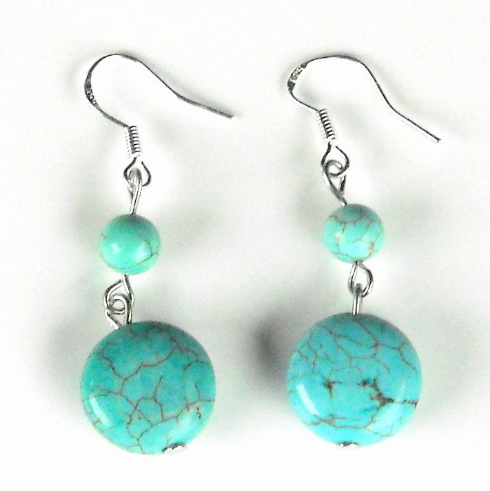 Turquoise 13 mm Flat Round Drops with Small Beads Dangle 925 Silver Fashion Earrings