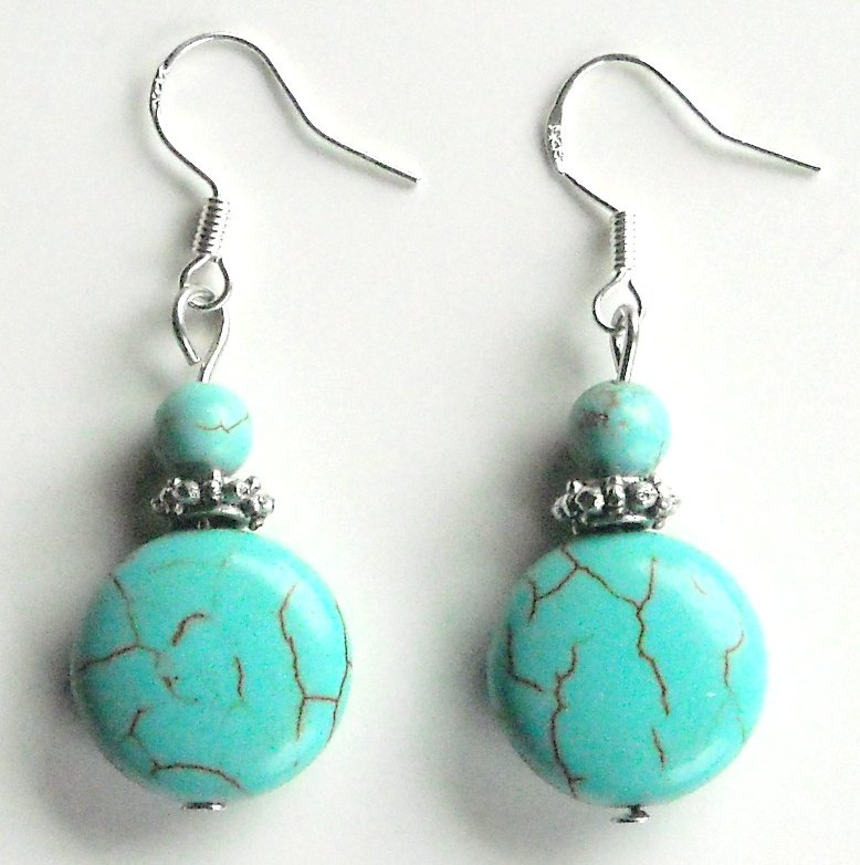 Turquoise 15 mm Round Drops with Silver Crown Dangle 925 Silver Fashion Earrings