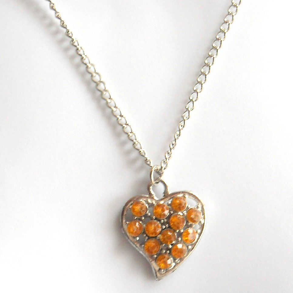 Austrian Crystals Yellow Amber Multi Stone Faceted Heart Fashion Necklace
