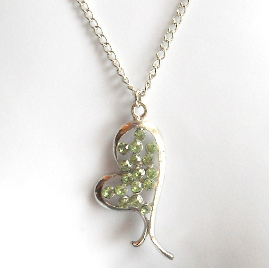 Austrian Crystals Emerald Green Multi Stone Faceted Heart Fashion Necklace