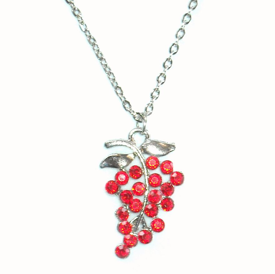 Austrian Crystals Salsa Red Multi Stone Faceted Grape Cluster Fashion Necklace