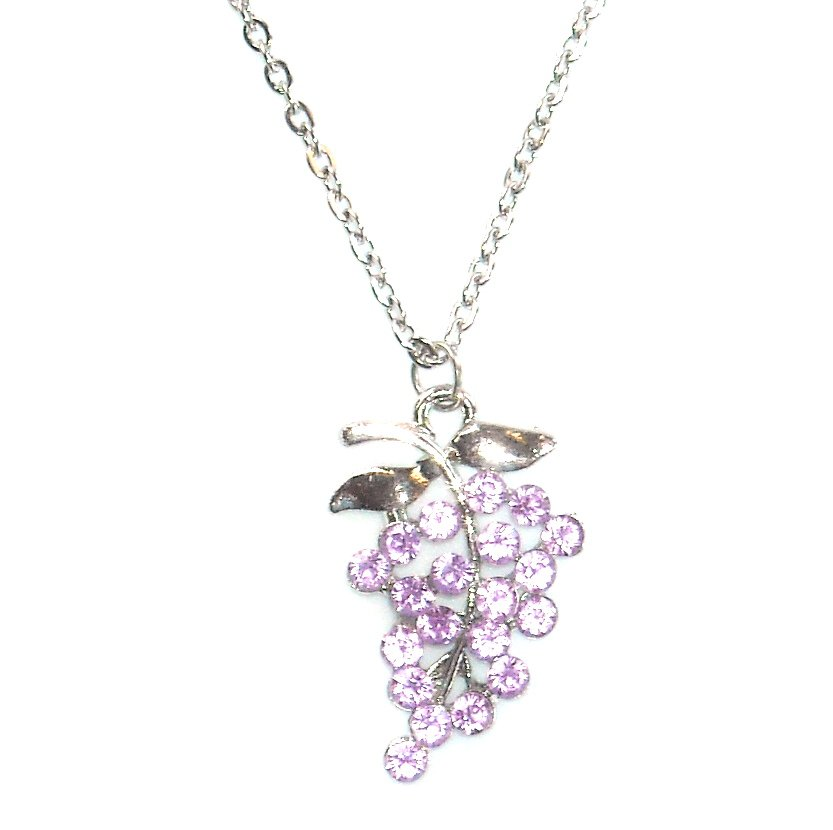 Austrian Crystals Purple Amethyst Multi Stone Faceted Grape Cluster Fashion Necklace