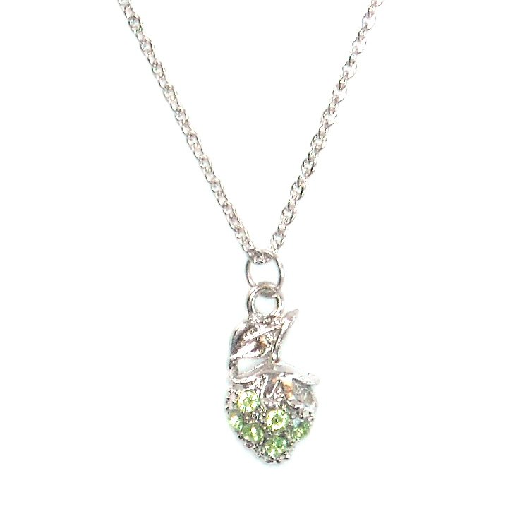 Austrian Crystals Lemon Green Multi Stone Faceted Berry Fashion Necklace