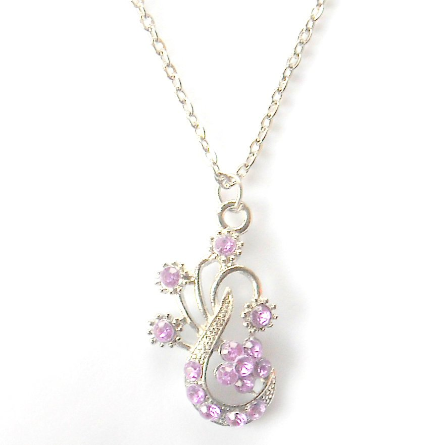 Austrian Crystals Purple Amethyst Multi Stone Faceted Music Flower Fashion Necklace