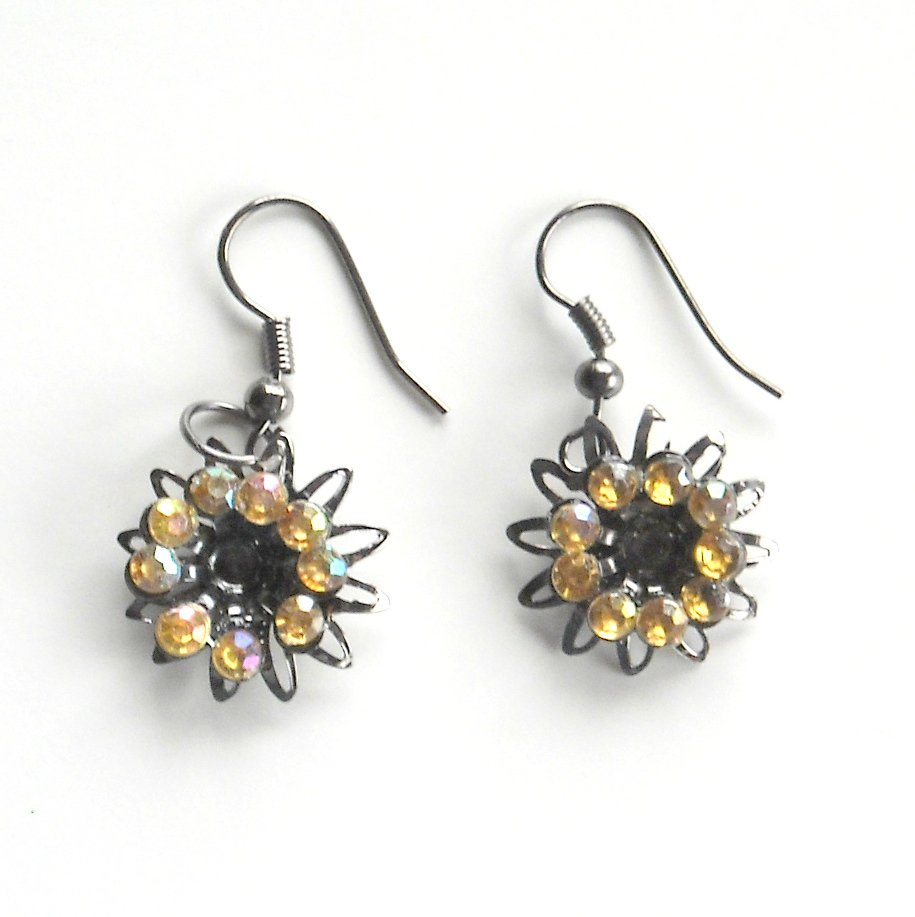 Rhinestone Yellow Flower Fashion Earrings