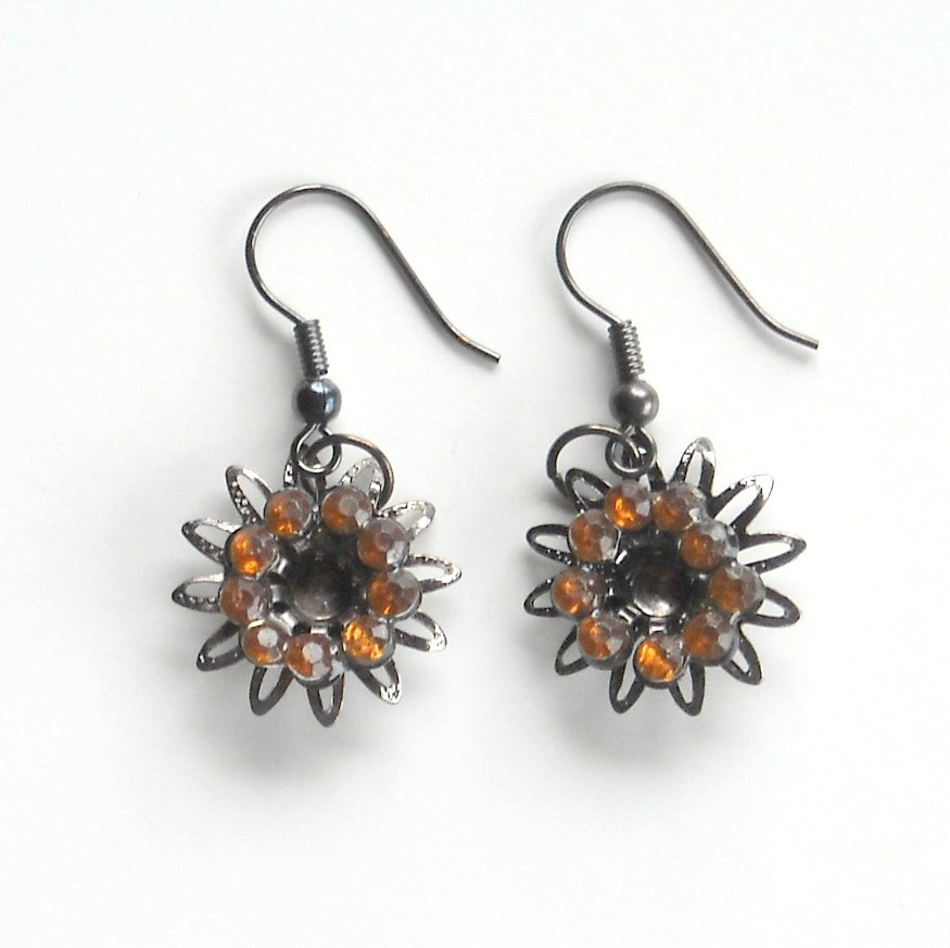 Rhinestone Amber Flower Fashion Earrings
