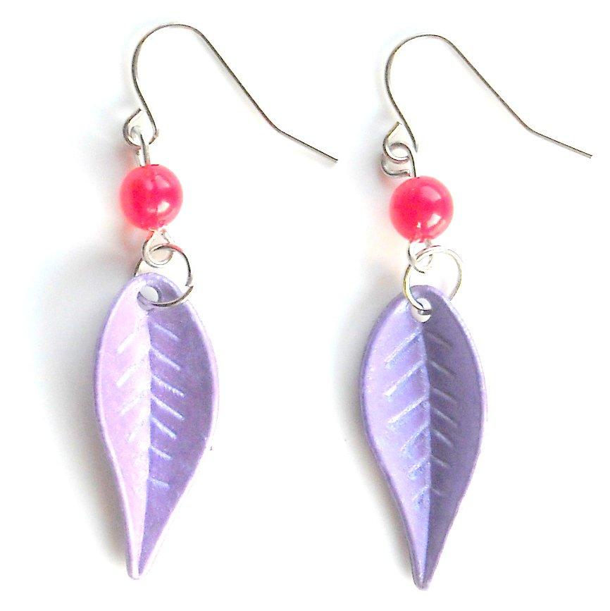 Purple Color Acrylic Leaves Dangle Fashion Earrings SPECIAL SALE