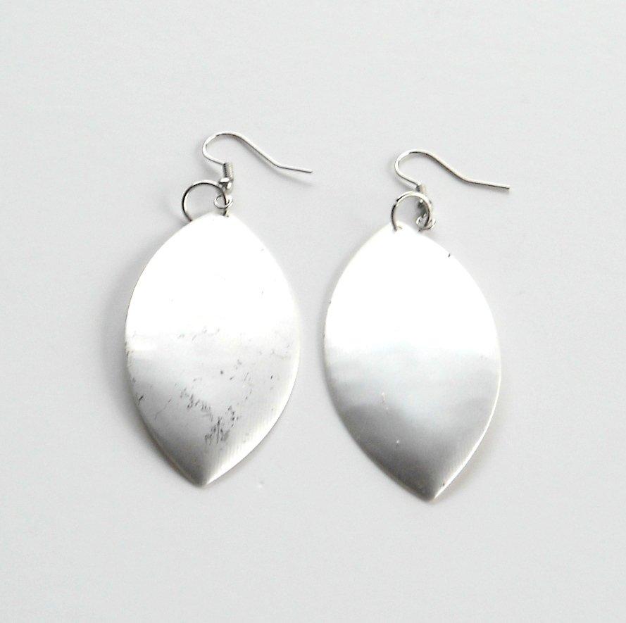 Large Oval Matt Distressed Silver color Metal Dangle Fashion Earrings