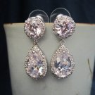 Sparkle filled bridal, wedding, fasion, cubic zirconia pear/tear drop earrings