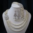 ATHENA SET, triple strand pearl necklace, bracelet, earrings,