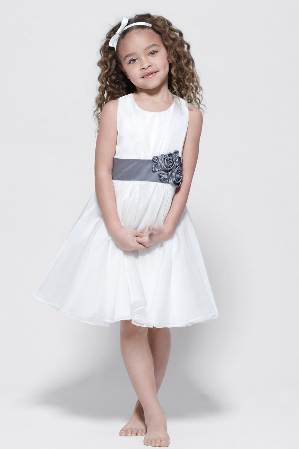 A-line Round-neck Tea-length Chiffon  Flower Girl Dress W002