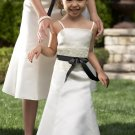 Free Shipping A-line Floor-length Satin Flower Girl Dress With Spaghetti Straps W009