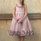 Free Shipping A-line Round-neck Tea-length Satin Flower Girl Dress W010