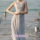 Elegant A-Line Long Silver Chiffon Evening Dresses Prom Party Formal Bridal Ball Gowns P003