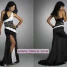 Sheath/Column Halter Black White Long Evening Dresses Prom Party Formal Bridal Gowns P013