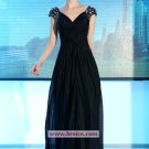 A-line Cap Straps Black Chiffon Floor-length Evening Dresses Prom Party Formal Bridal Gowns P042