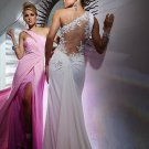 Sexy Sheath/Column One Shoulder Chiffon Long Evening Dresses Prom Party Formal Bridal Gowns P059