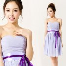 Cheap A-line Purple Short Evening Bridesmaid Dresses Prom Party Formal Bridal Gowns under 100 T07B