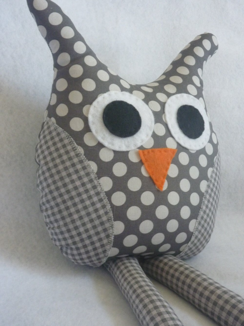 Owl Pillow with Rag Doll Legs in Grey Polka Dots