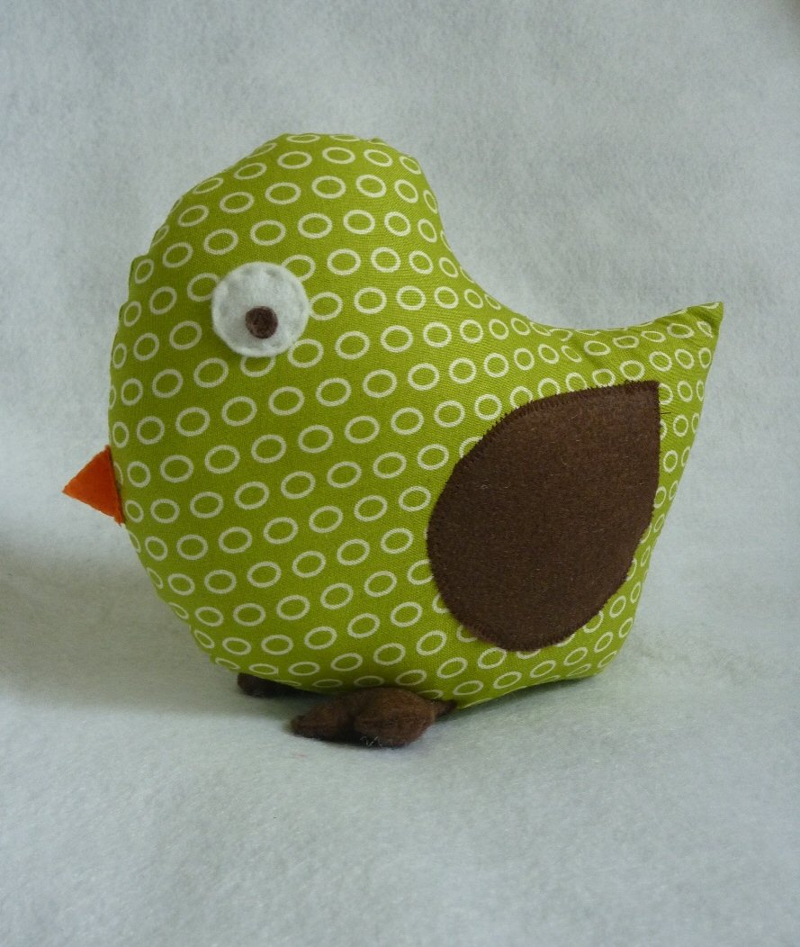 Bird Pillow for Tree Nursery Decor in Neutral Sage
