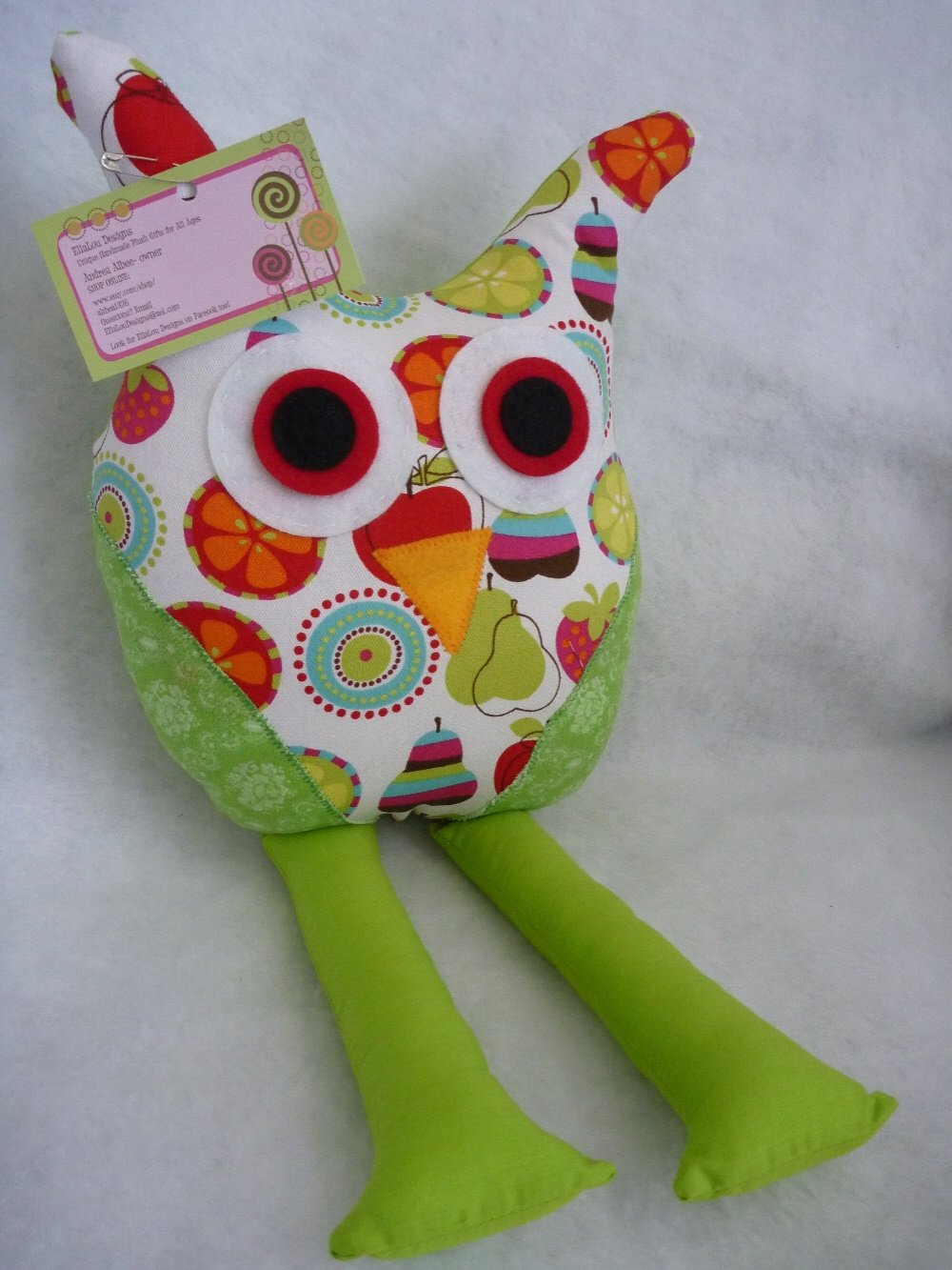Owl Pillow for Nursery/Room Decor in Green, Red Apples