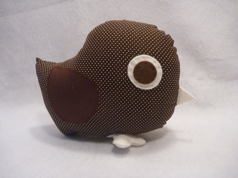 Bird Pillow in Neutral Chocolate Brown for Tree Nursery Decor