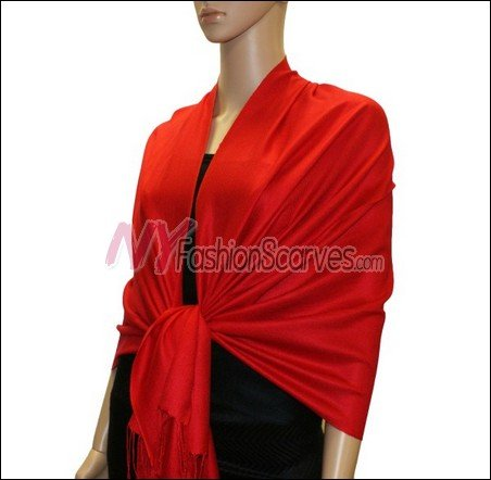 Silky Soft Solid Pashmina <br>Red