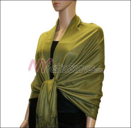 Silky Soft Solid Pashmina <br>Olive