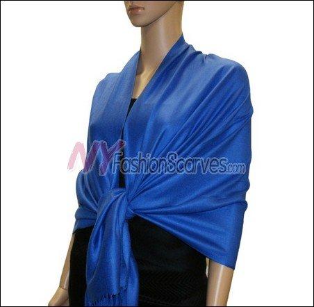 Silky Soft Solid Pashmina <br>Royal Blue