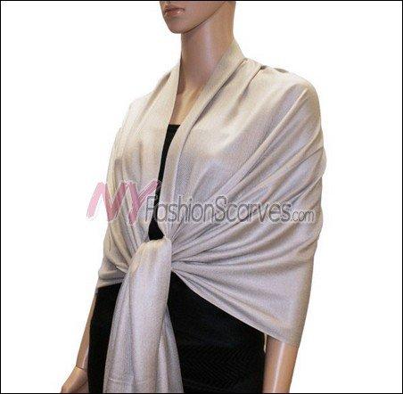 Silky Soft Solid Pashmina <br>Beige Grey