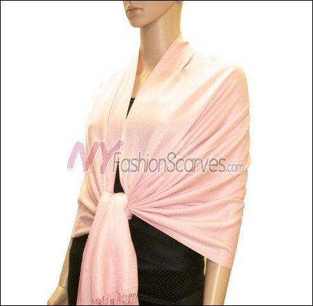 Silky Soft Solid Pashmina <br>Baby Pink