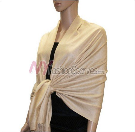 Silky Soft Solid Pashmina <br>Tan