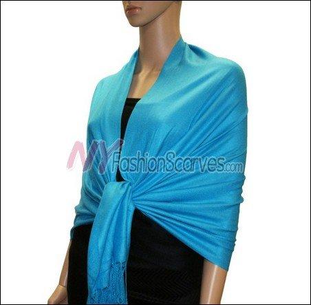Silky Soft Solid Pashmina <br>Sky Blue