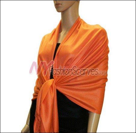 Silky Soft Solid Pashmina <br>Orange Red