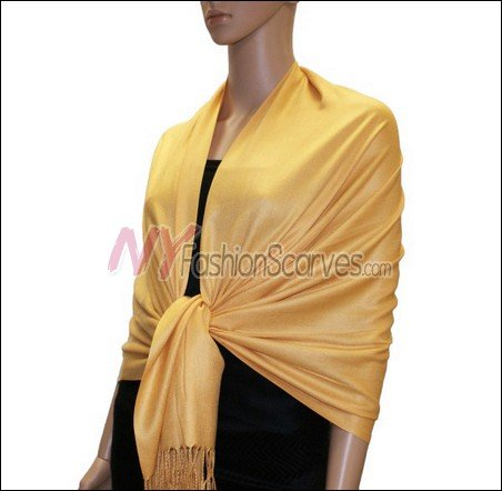 Silky Soft Solid Pashmina <br>Golden Yellow