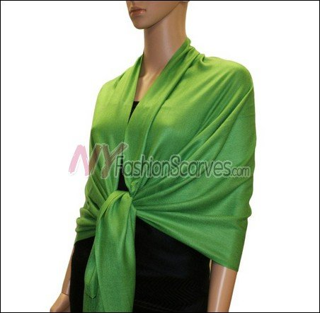 Silky Soft Solid Pashmina <br>Green