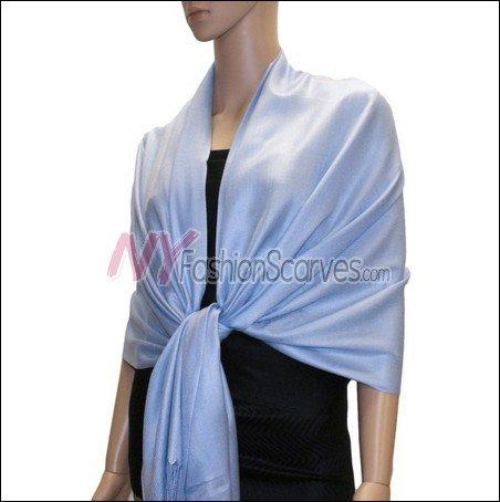 Silky Soft Solid Pashmina <br>Light Blue