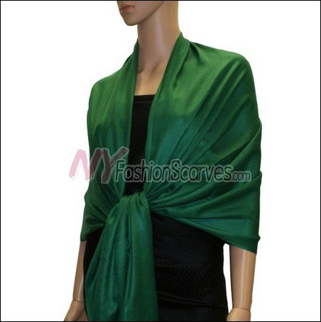Silky Soft Solid Pashmina <br>Forest Green