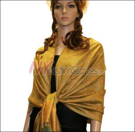 Paisley Jacquard Pashmina<br>Gold